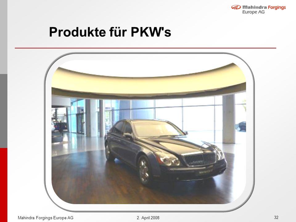 32 Mahindra Forgings Europe AG2. April 2008 Produkte für PKW's