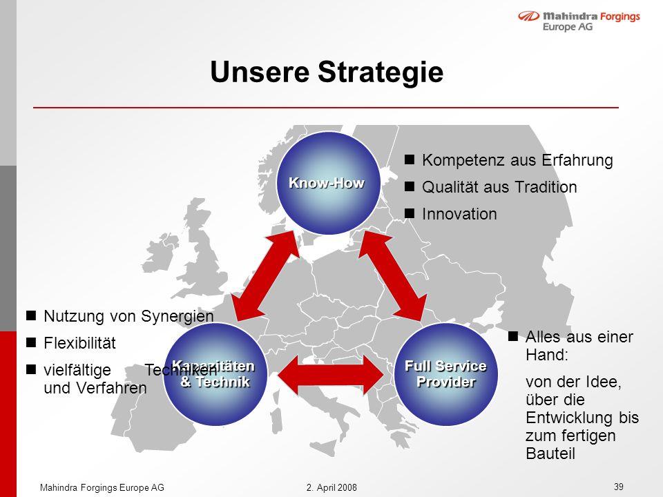 39 Mahindra Forgings Europe AG2. April 2008 Unsere Strategie Know-How Full Service Provider Alles aus einer Hand: von der Idee, über die Entwicklung b