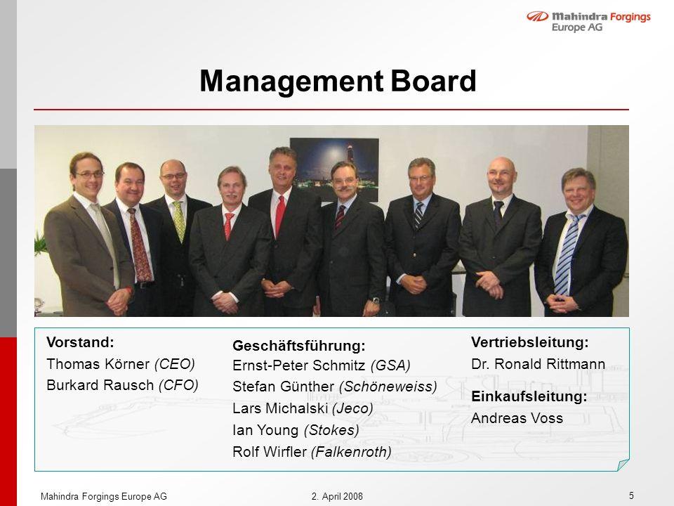 5 Mahindra Forgings Europe AG2. April 2008 Management Board Vorstand: Thomas Körner (CEO) Burkard Rausch (CFO) Geschäftsführung: Ernst-Peter Schmitz (