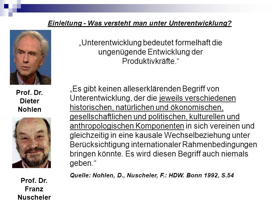 Einleitung - Was versteht man unter Unterentwicklung? Prof. Dr. Dieter Nohlen Prof. Dr. Franz Nuscheler Es gibt keinen alleserklärenden Begriff von Un