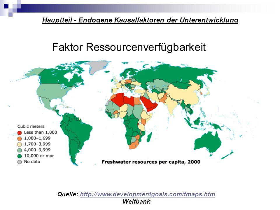 Hauptteil - Endogene Kausalfaktoren der Unterentwicklung Faktor Ressourcenverfügbarkeit Quelle: http://www.developmentgoals.com/tmaps.htmhttp://www.de
