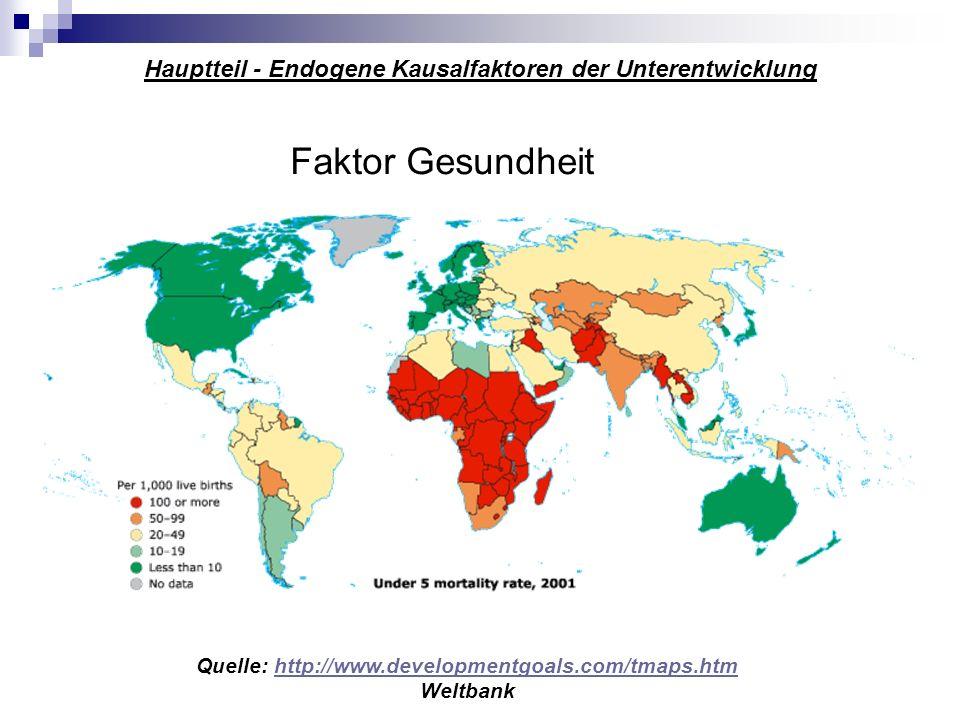 Hauptteil - Endogene Kausalfaktoren der Unterentwicklung Faktor Gesundheit Quelle: http://www.developmentgoals.com/tmaps.htmhttp://www.developmentgoal