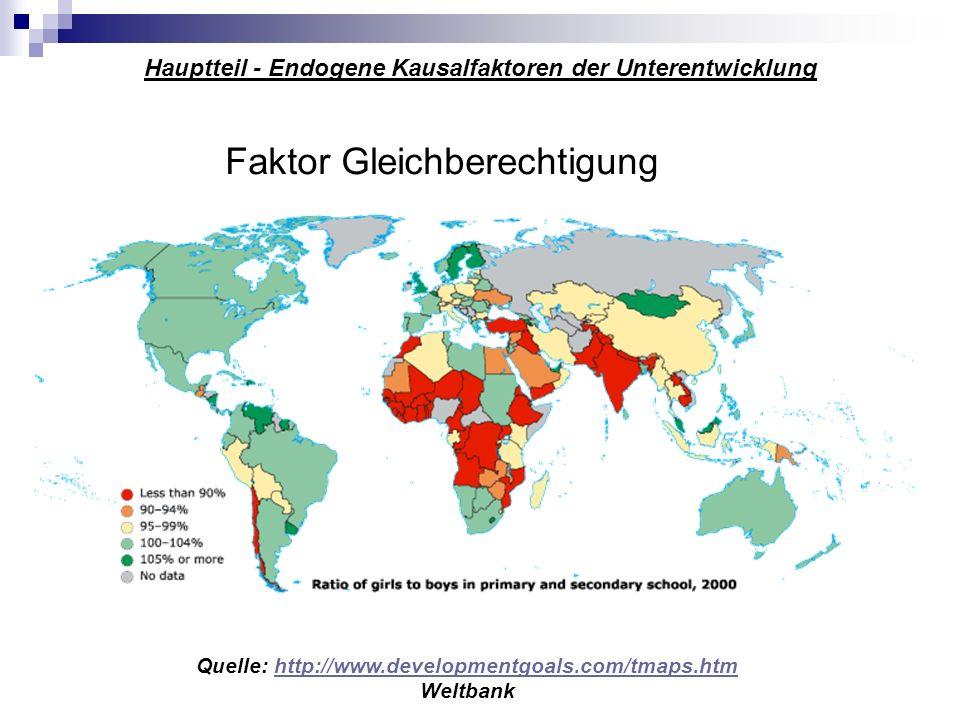 Hauptteil - Endogene Kausalfaktoren der Unterentwicklung Faktor Gleichberechtigung Quelle: http://www.developmentgoals.com/tmaps.htmhttp://www.develop