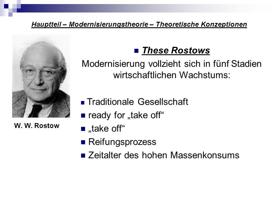 Hauptteil – Modernisierungstheorie – Theoretische Konzeptionen W. W. Rostow These Rostows Modernisierung vollzieht sich in fünf Stadien wirtschaftlich