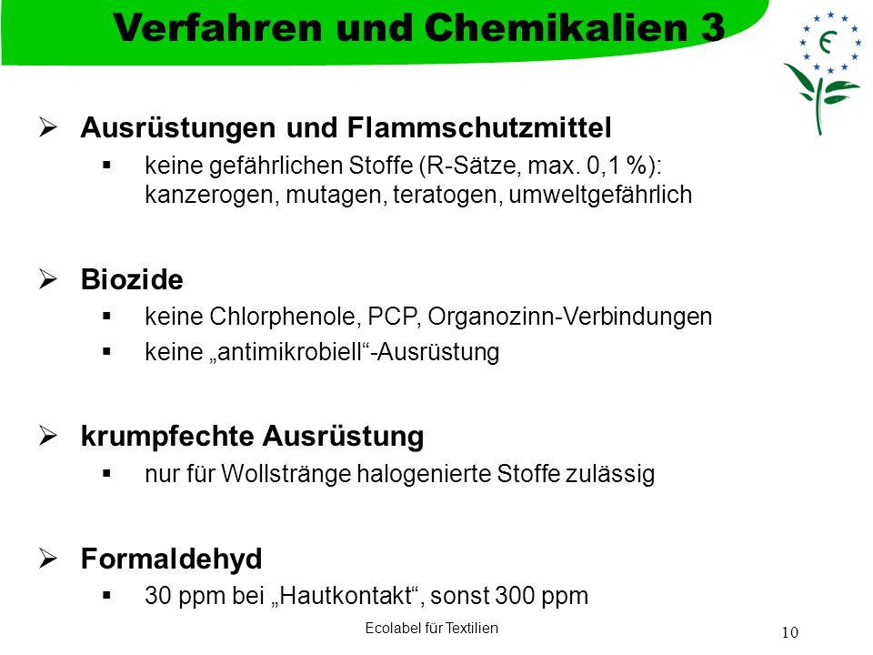 Ecolabel für Textilien 10 Ausrüstungen und Flammschutzmittel keine gefährlichen Stoffe (R-Sätze, max. 0,1 %): kanzerogen, mutagen, teratogen, umweltge