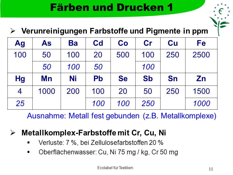 Ecolabel für Textilien 11 Verunreinigungen Farbstoffe und Pigmente in ppm Ausnahme: Metall fest gebunden (z.B. Metallkomplexe) Metallkomplex-Farbstoff