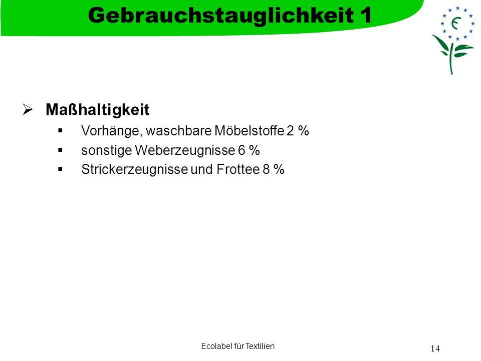 Ecolabel für Textilien 14 Maßhaltigkeit Vorhänge, waschbare Möbelstoffe 2 % sonstige Weberzeugnisse 6 % Strickerzeugnisse und Frottee 8 % Gebrauchstau