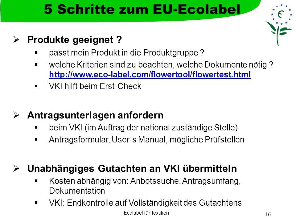 Ecolabel für Textilien 16 Produkte geeignet ? passt mein Produkt in die Produktgruppe ? welche Kriterien sind zu beachten, welche Dokumente nötig ? ht