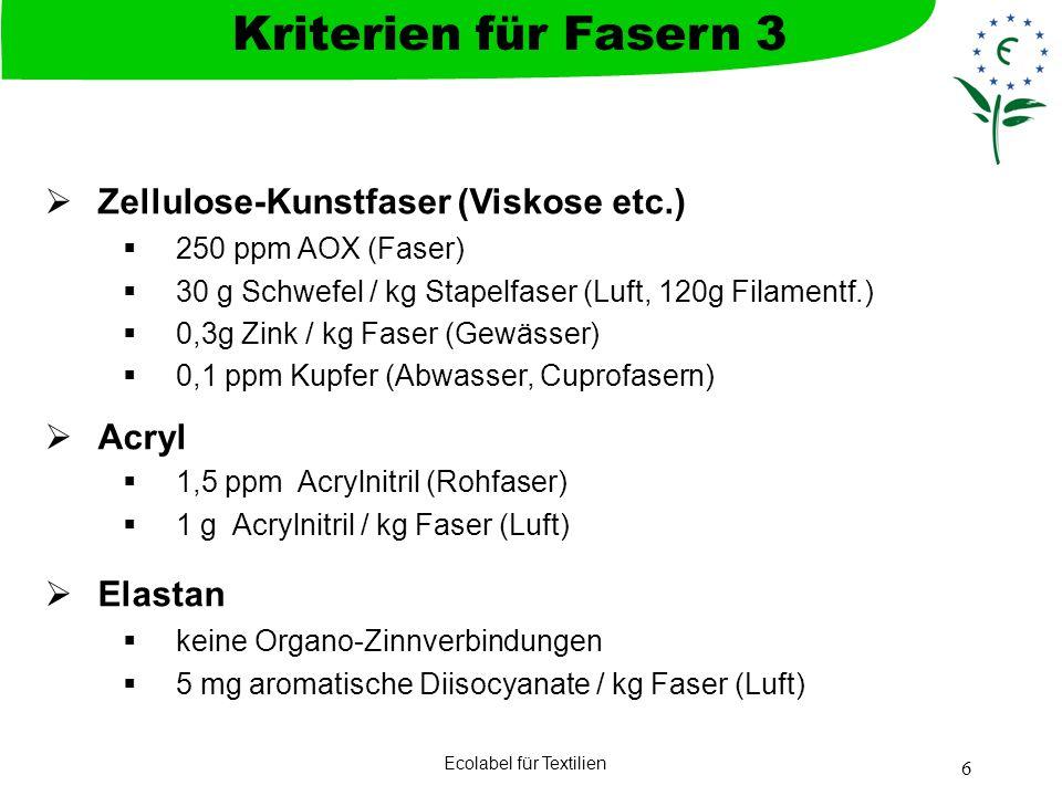Ecolabel für Textilien 6 Zellulose-Kunstfaser (Viskose etc.) 250 ppm AOX (Faser) 30 g Schwefel / kg Stapelfaser (Luft, 120g Filamentf.) 0,3g Zink / kg