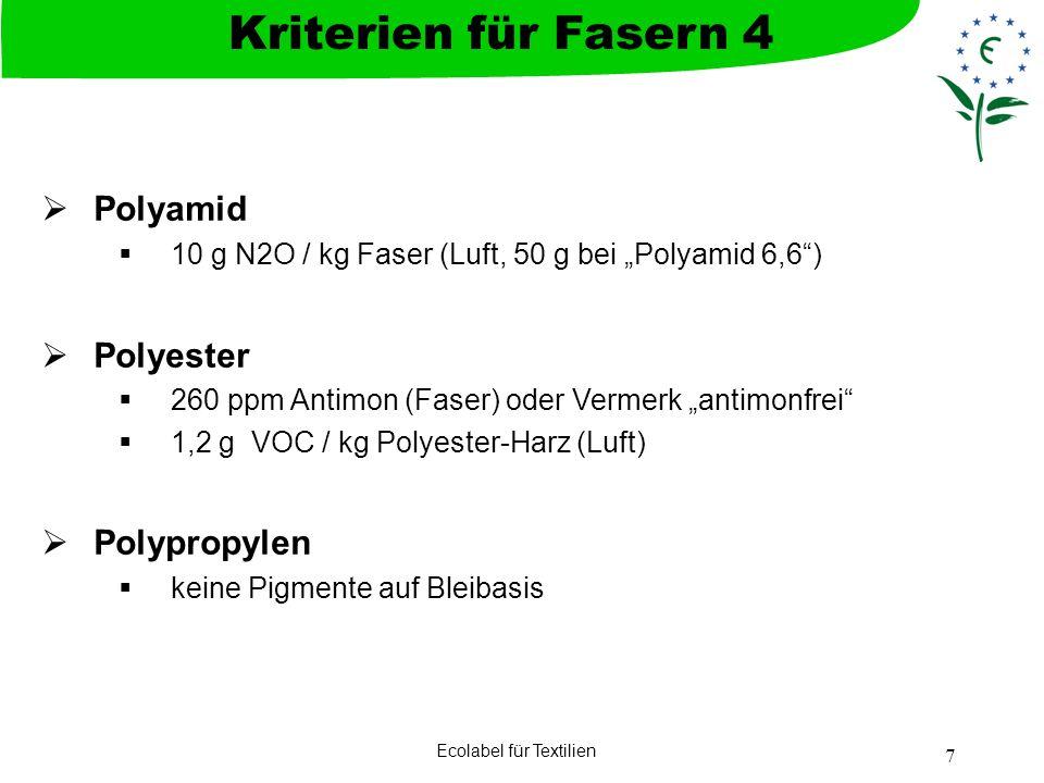 Ecolabel für Textilien 7 Polyamid 10 g N2O / kg Faser (Luft, 50 g bei Polyamid 6,6) Polyester 260 ppm Antimon (Faser) oder Vermerk antimonfrei 1,2 g V