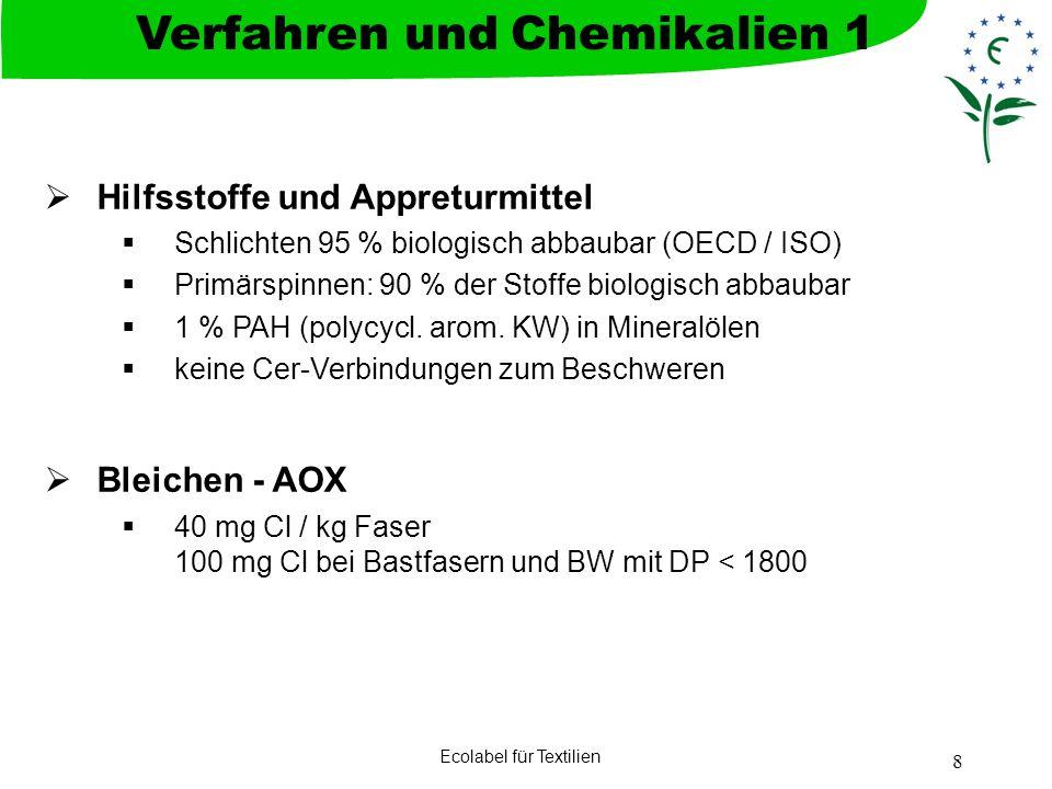 Ecolabel für Textilien 8 Hilfsstoffe und Appreturmittel Schlichten 95 % biologisch abbaubar (OECD / ISO) Primärspinnen: 90 % der Stoffe biologisch abb