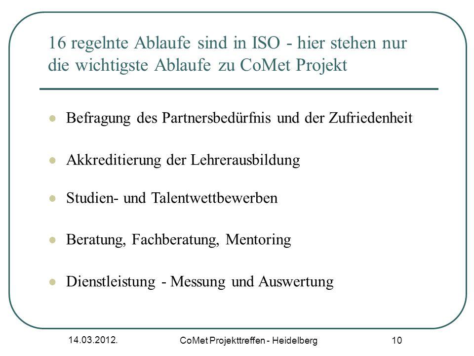 14.03.2012. CoMet Projekttreffen - Heidelberg 10 16 regelnte Ablaufe sind in ISO - hier stehen nur die wichtigste Ablaufe zu CoMet Projekt Befragung d