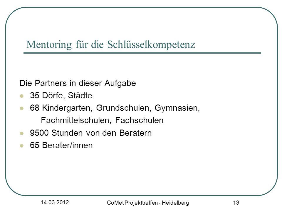 14.03.2012. CoMet Projekttreffen - Heidelberg 13 Mentoring für die Schlüsselkompetenz Die Partners in dieser Aufgabe 35 Dörfe, Städte 68 Kindergarten,