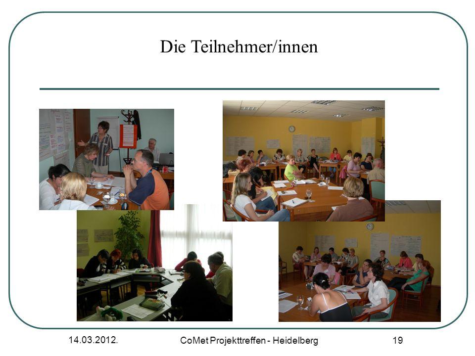 14.03.2012. CoMet Projekttreffen - Heidelberg 19 Die Teilnehmer/innen