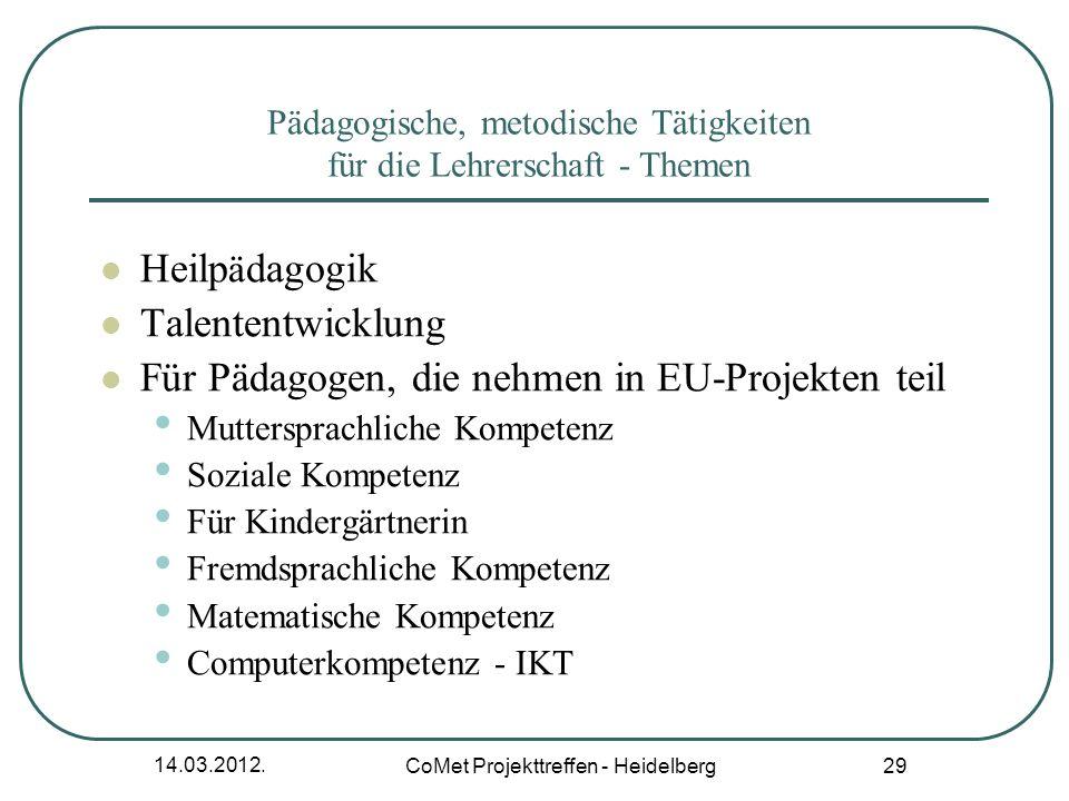 14.03.2012. CoMet Projekttreffen - Heidelberg 29 Pädagogische, metodische Tätigkeiten für die Lehrerschaft - Themen Heilp ä dagogik Talententwicklung