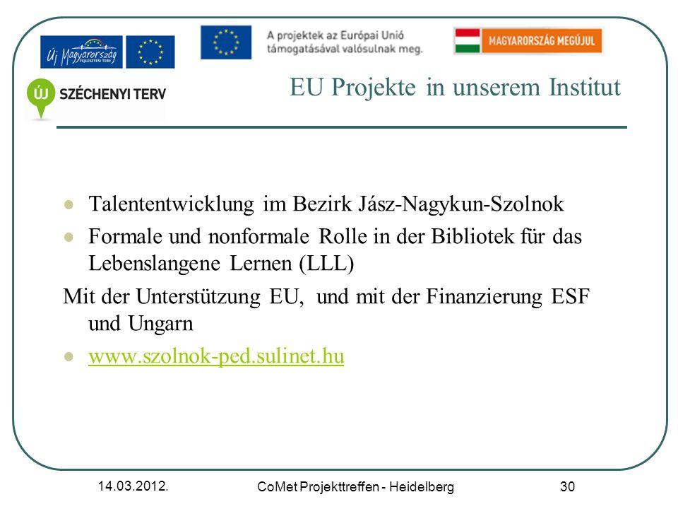 14.03.2012. CoMet Projekttreffen - Heidelberg 30 EU Projekte in unserem Institut Talententwicklung im Bezirk Jász-Nagykun-Szolnok Formale und nonforma