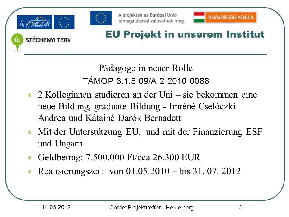 14.03.2012. CoMet Projekttreffen - Heidelberg 31 EU Projekt in unserem Institut Pädagoge in neuer Rolle TÁMOP-3.1.5-09/A-2-2010-0088 2 Kolleginnen stu