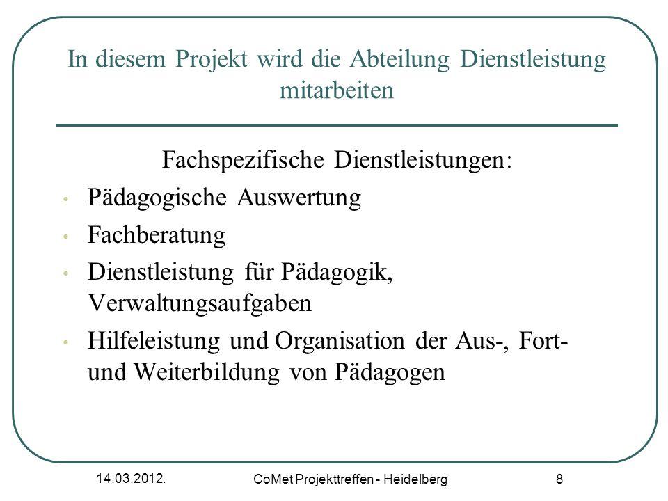 14.03.2012. CoMet Projekttreffen - Heidelberg 8 In diesem Projekt wird die Abteilung Dienstleistung mitarbeiten Fachspezifische Dienstleistungen: Päda
