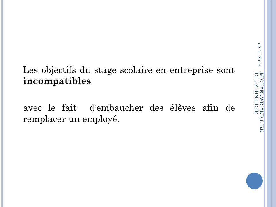 Les objectifs du stage scolaire en entreprise sont incompatibles avec le fait dembaucher des élèves afin de remplacer un employé. 02.11.2013 MICHAEL W