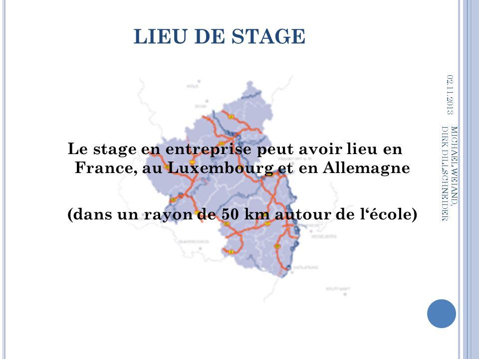 LIEU DE STAGE 02.11.2013 MICHAEL WEIAND, DIRK DILLSCHNEIDER Le stage en entreprise peut avoir lieu en France, au Luxembourg et en Allemagne (dans un r
