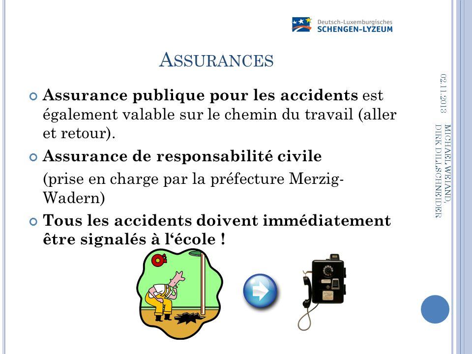 A SSURANCES Assurance publique pour les accidents est également valable sur le chemin du travail (aller et retour). Assurance de responsabilité civile