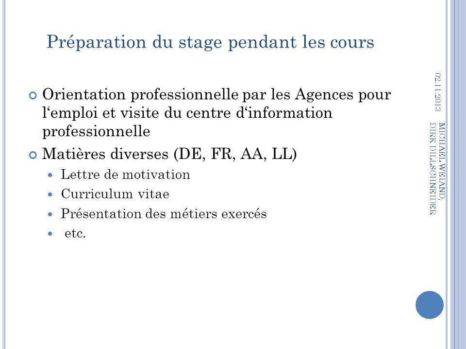 Préparation du stage pendant les cours Orientation professionnelle par les Agences pour lemploi et visite du centre dinformation professionnelle Matiè