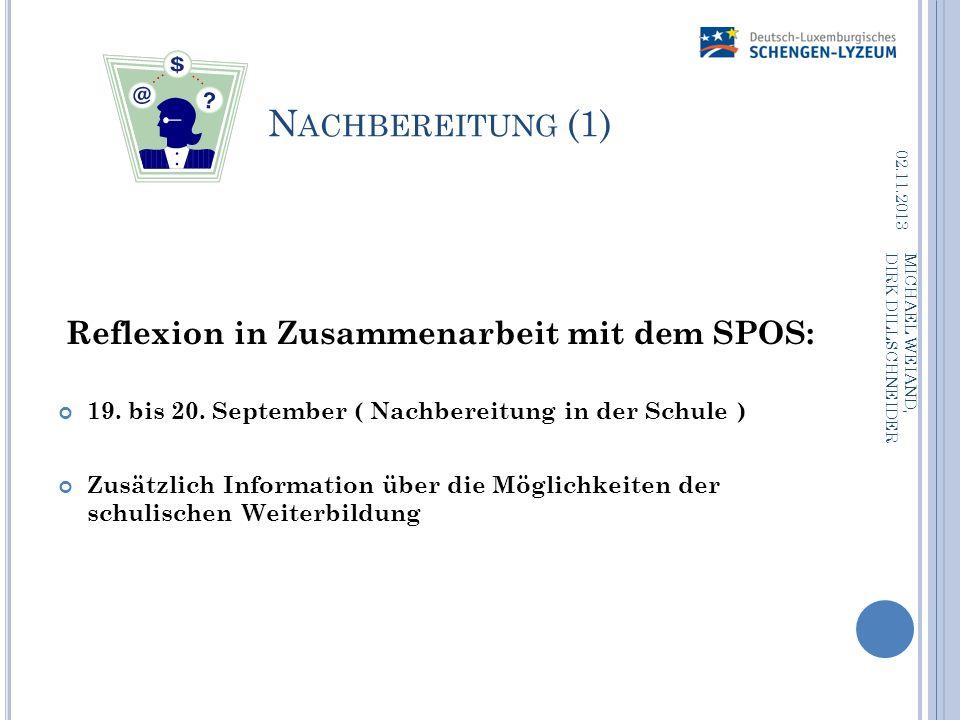 N ACHBEREITUNG (1) Reflexion in Zusammenarbeit mit dem SPOS: 19. bis 20. September ( Nachbereitung in der Schule ) Zusätzlich Information über die Mög