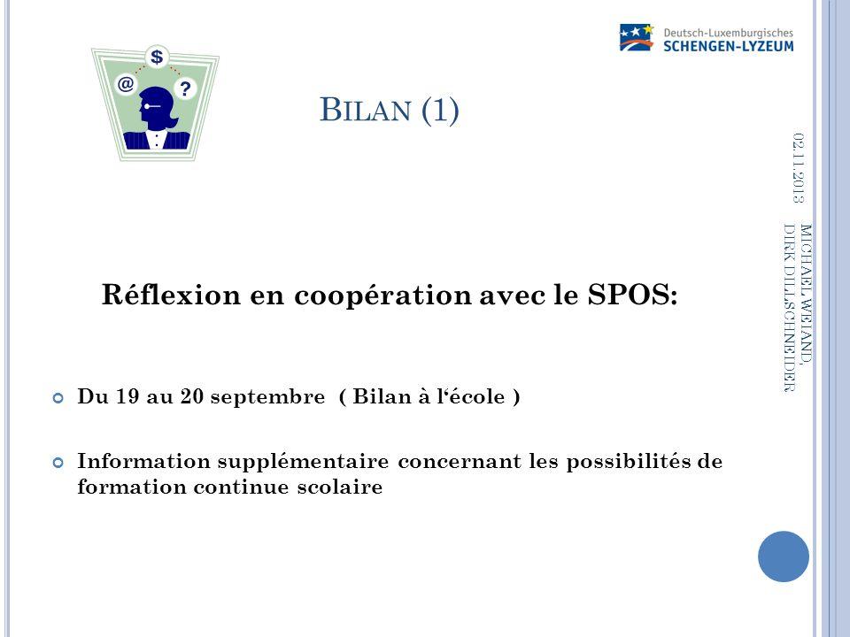 B ILAN (1) Réflexion en coopération avec le SPOS: Du 19 au 20 septembre ( Bilan à lécole ) Information supplémentaire concernant les possibilités de f