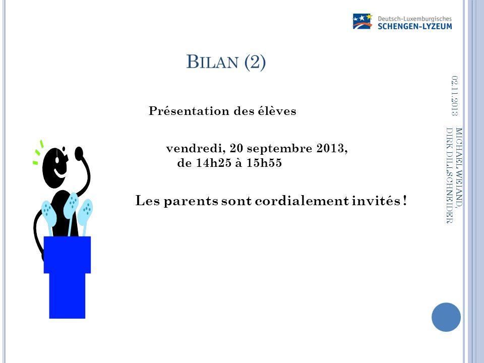 B ILAN (2) Présentation des élèves vendredi, 20 septembre 2013, de 14h25 à 15h55 Les parents sont cordialement invités ! 02.11.2013 MICHAEL WEIAND, DI