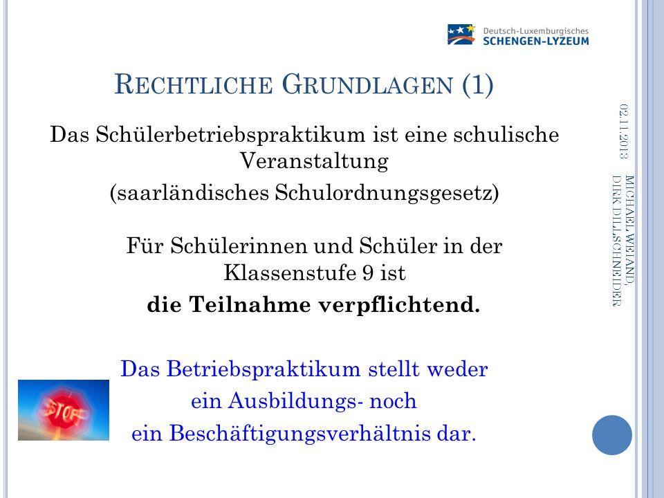 R ECHTLICHE G RUNDLAGEN (1) Das Schülerbetriebspraktikum ist eine schulische Veranstaltung (saarländisches Schulordnungsgesetz) Für Schülerinnen und S