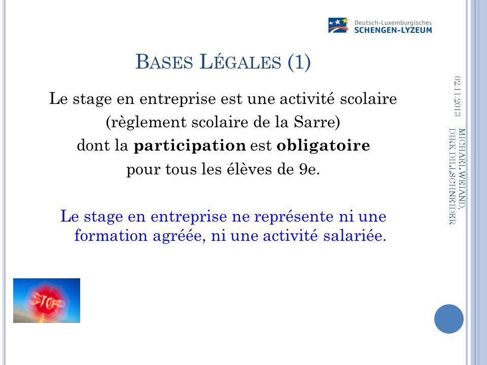 B ASES L ÉGALES (1) Le stage en entreprise est une activité scolaire (règlement scolaire de la Sarre) dont la participation est obligatoire pour tous