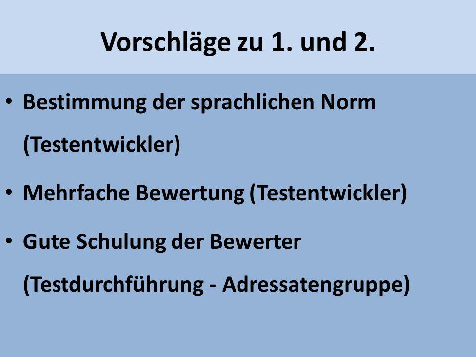 Vorschläge zu 1. und 2. Bestimmung der sprachlichen Norm (Testentwickler) Mehrfache Bewertung (Testentwickler) Gute Schulung der Bewerter (Testdurchfü