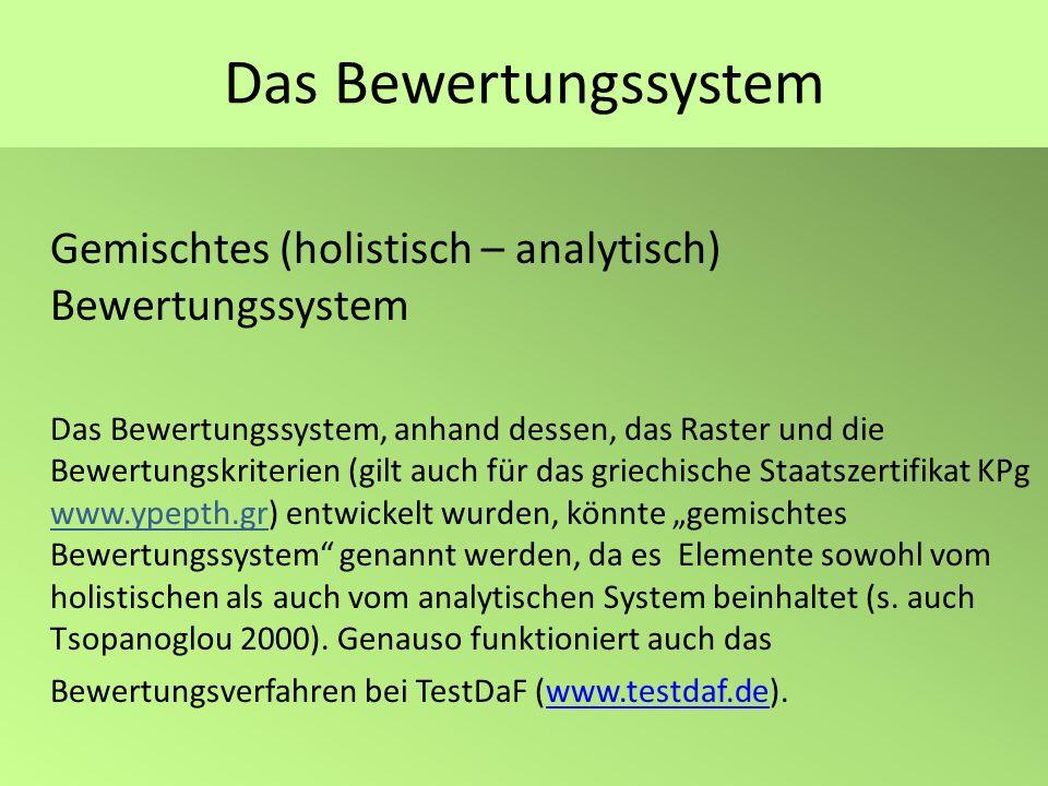 Das Bewertungssystem Gemischtes (holistisch – analytisch) Bewertungssystem Das Bewertungssystem, anhand dessen, das Raster und die Bewertungskriterien
