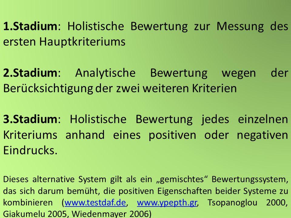 1.Stadium: Holistische Bewertung zur Messung des ersten Hauptkriteriums 2.Stadium: Analytische Bewertung wegen der Berücksichtigung der zwei weiteren