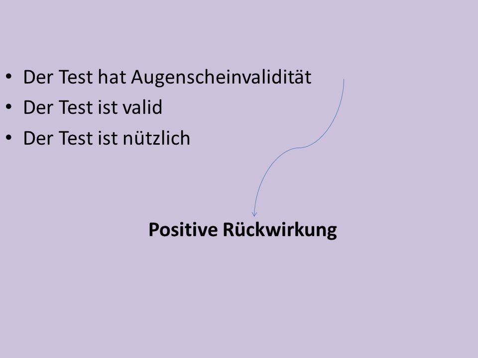 Der Test hat Augenscheinvalidität Der Test ist valid Der Test ist nützlich Positive Rückwirkung