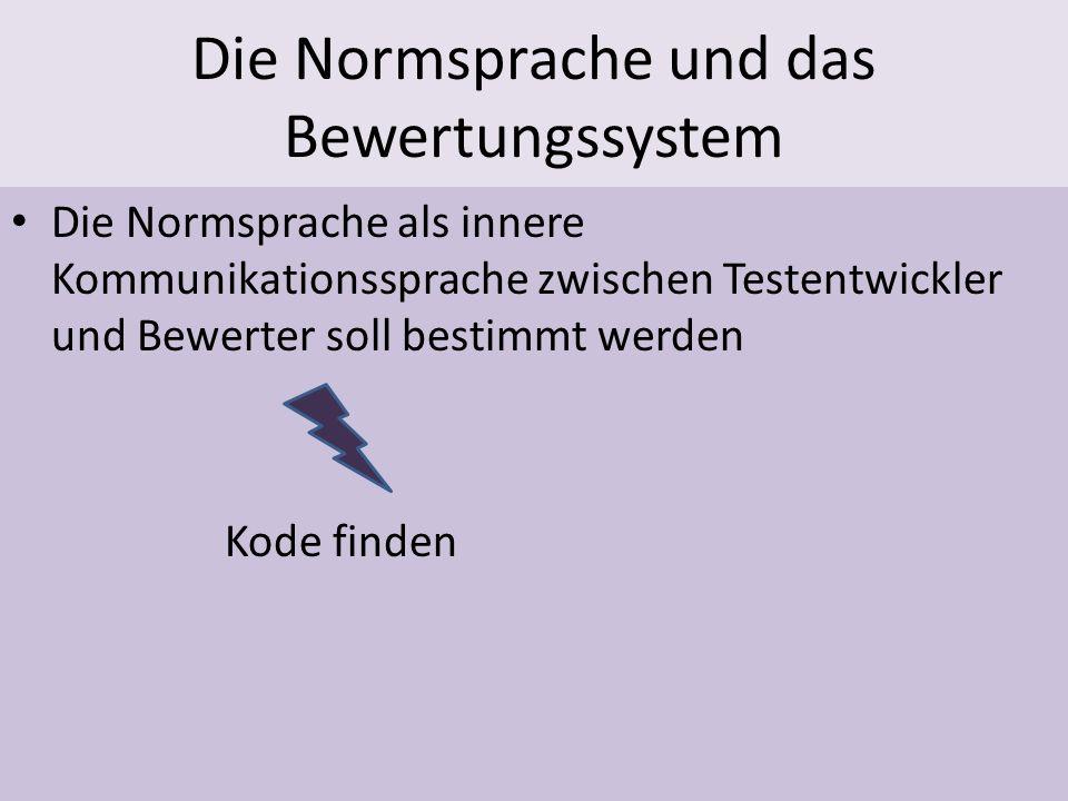 Die Normsprache und das Bewertungssystem Die Normsprache als innere Kommunikationssprache zwischen Testentwickler und Bewerter soll bestimmt werden Ko