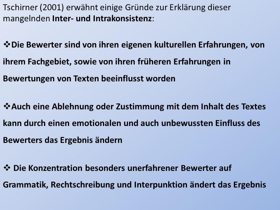 Tschirner (2001) erwähnt einige Gründe zur Erklärung dieser mangelnden Inter- und Intrakonsistenz: Die Bewerter sind von ihren eigenen kulturellen Erf