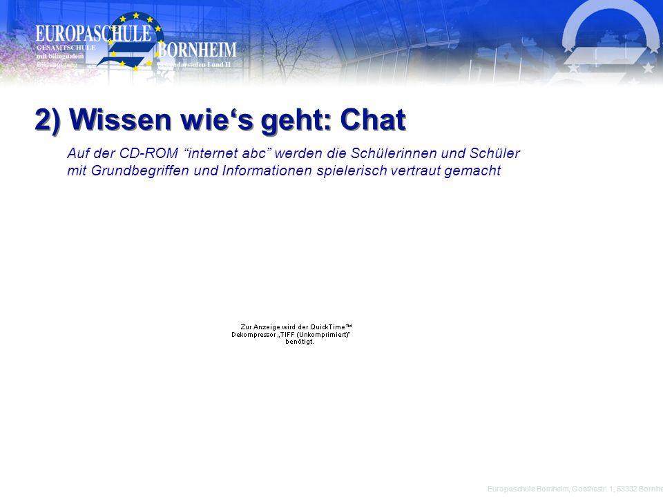 Europaschule Bornheim, Goethestr. 1, 53332 Bornheim 2) Wissen wies geht: Chat Auf der CD-ROM internet abc werden die Schülerinnen und Schüler mit Grun