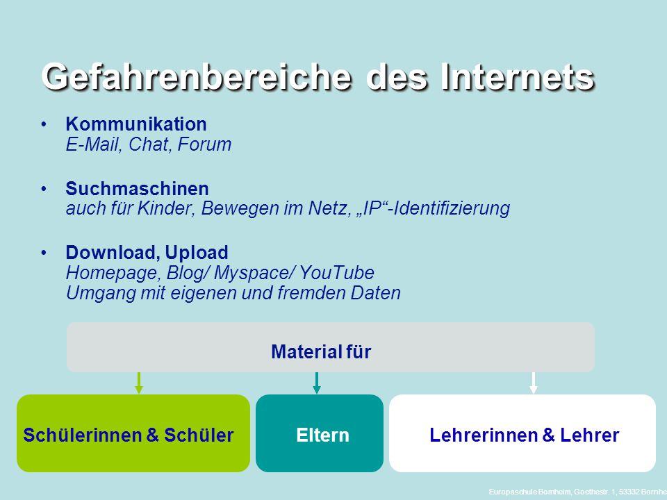 Gefahrenbereiche des Internets Kommunikation E-Mail, Chat, Forum Suchmaschinen auch für Kinder, Bewegen im Netz, IP-Identifizierung Download, Upload H