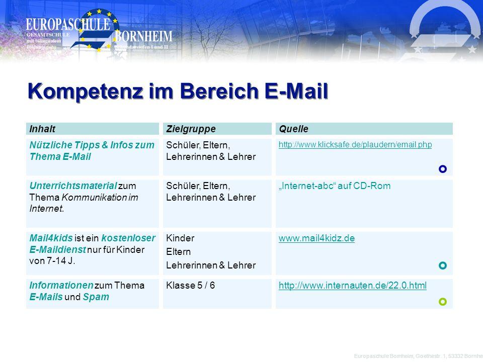 Kompetenz im Bereich E-Mail Europaschule Bornheim, Goethestr. 1, 53332 Bornheim InhaltZielgruppeQuelle Nützliche Tipps & Infos zum Thema E-Mail Schüle