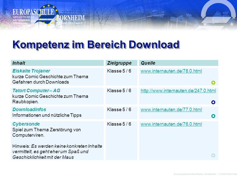 Kompetenz im Bereich Download Europaschule Bornheim, Goethestr. 1, 53332 Bornheim InhaltZielgruppeQuelle Eiskalte Trojaner kurze Comic Geschichte zum