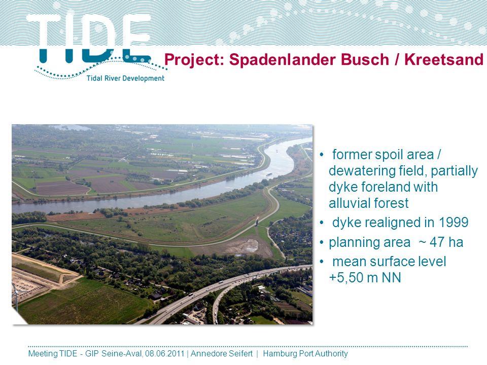 Meeting TIDE - GIP Seine-Aval, 08.06.2011 | Annedore Seifert | Hamburg Port Authority Spadenlander Busch / Kreetsand Tidal Volume: New shallow water a