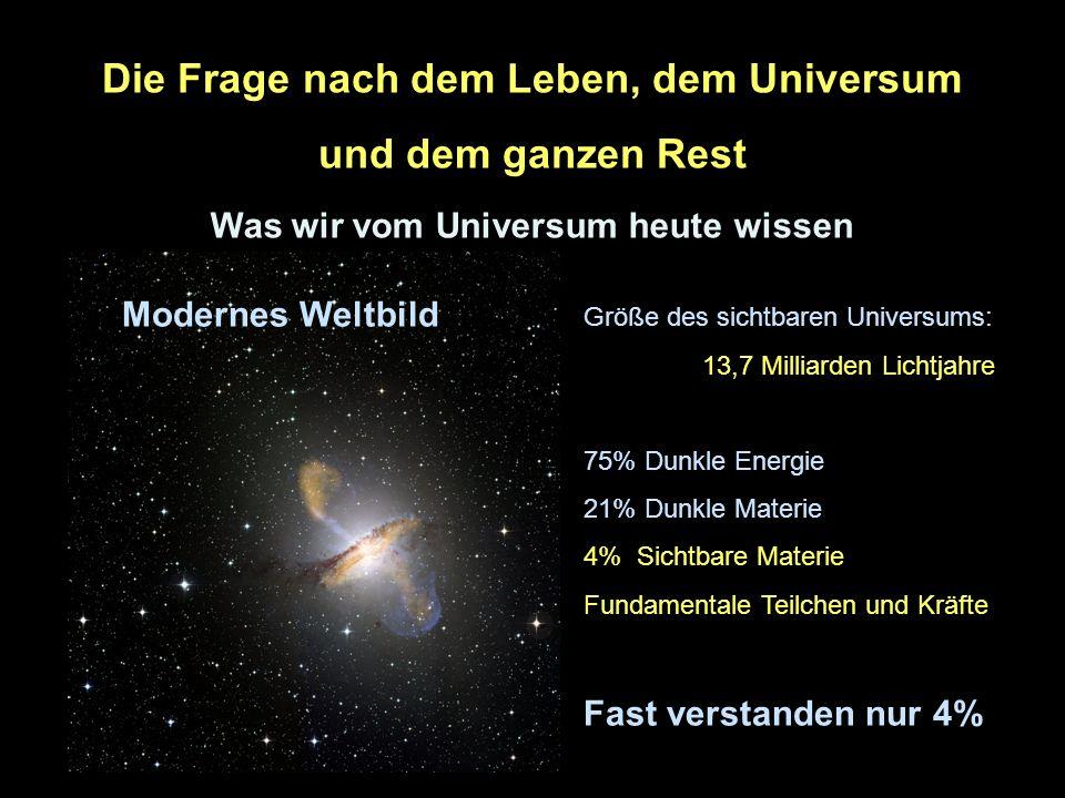 2 Die Frage nach dem Leben, dem Universum und dem ganzen Rest Was wir vom Universum heute wissen Veraltetes Weltbild Modernes Weltbild Größe des sicht