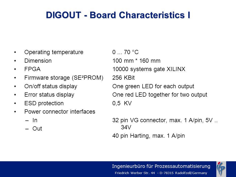 Ingenieurbüro für Prozessautomatisierung Friedrich Werber Str. 44 · D-78315 Radolfzell/Germany DIGOUT - Board Characteristics I Operating temperature