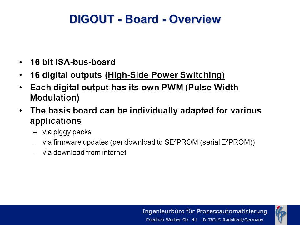 Ingenieurbüro für Prozessautomatisierung Friedrich Werber Str. 44 · D-78315 Radolfzell/Germany 16 bit ISA-bus-board 16 digital outputs (High-Side Powe