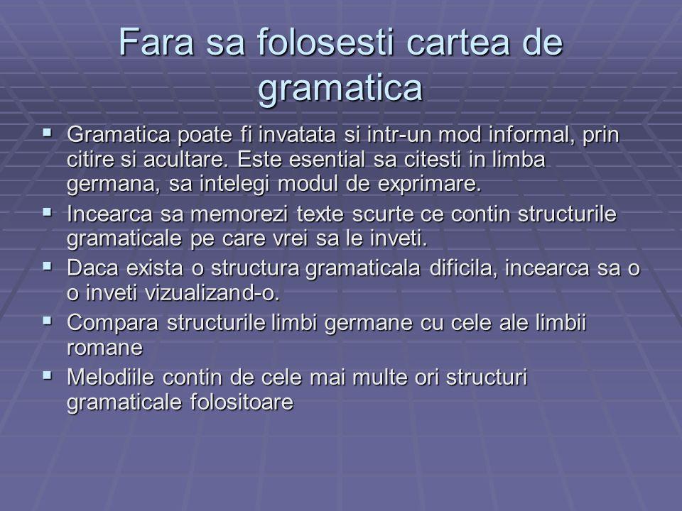 Fara sa folosesti cartea de gramatica Gramatica poate fi invatata si intr-un mod informal, prin citire si acultare. Este esential sa citesti in limba