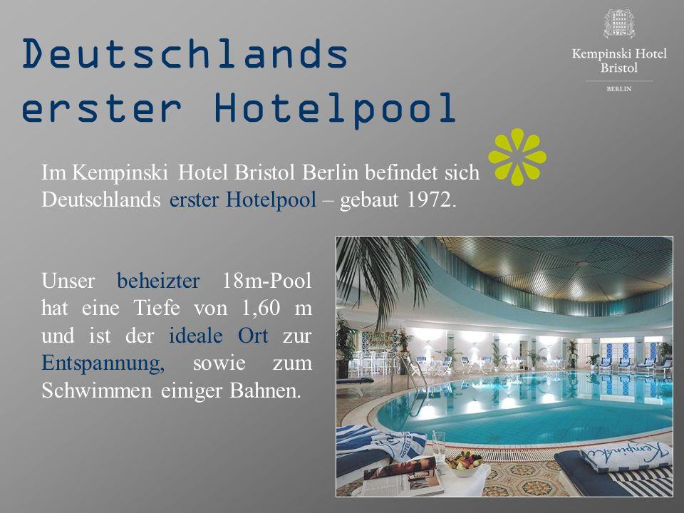 Deutschlands erster Hotelpool Unser beheizter 18m-Pool hat eine Tiefe von 1,60 m und ist der ideale Ort zur Entspannung, sowie zum Schwimmen einiger B