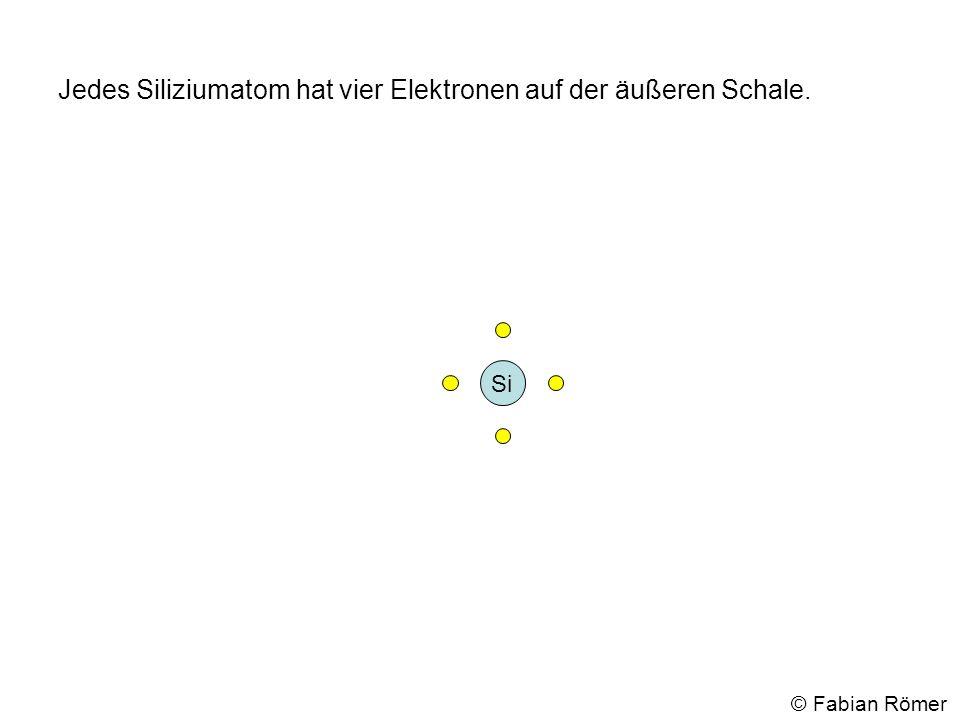Werden nun viele Siliziumatome zusammengefügt bilden immer zwei benachbarte Elektronen von unterschiedlichen Atomen eine Elektronenpaarbindung und es entsteht ein Silizium-Kristallgitter.