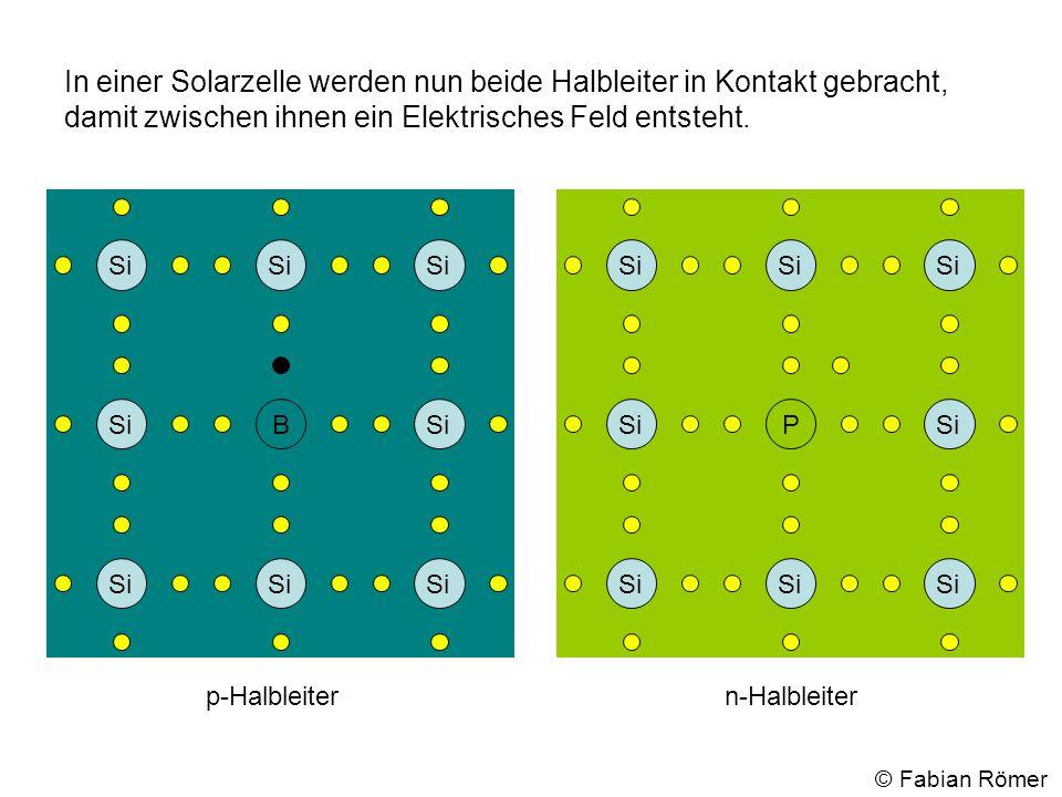 In einer Solarzelle werden nun beide Halbleiter in Kontakt gebracht, damit zwischen ihnen ein Elektrisches Feld entsteht. p-Halbleitern-Halbleiter Si
