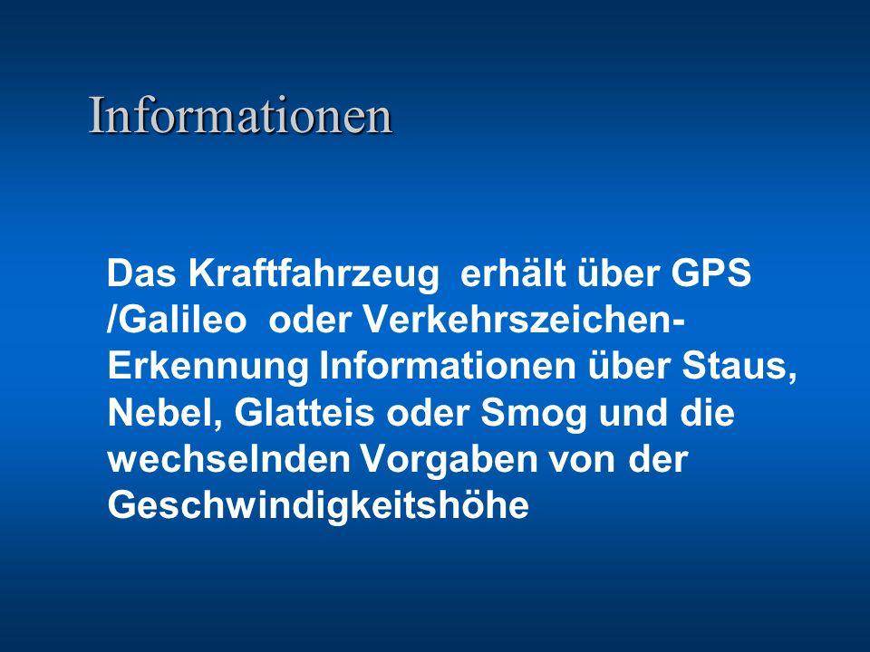 Informationen Informationen Das Kraftfahrzeug erhält über GPS /Galileo oder Verkehrszeichen- Erkennung Informationen über Staus, Nebel, Glatteis oder